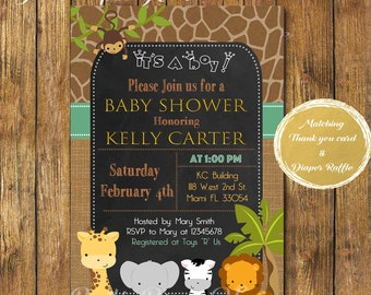 Digital File or Printed,Safari Baby Shower Invitation,Baby Boy Safari,Burlap,Printable,Jungle Theme Baby Shower,Chalkboard Animals