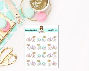 Pretty Floral Bike Planner Stickers