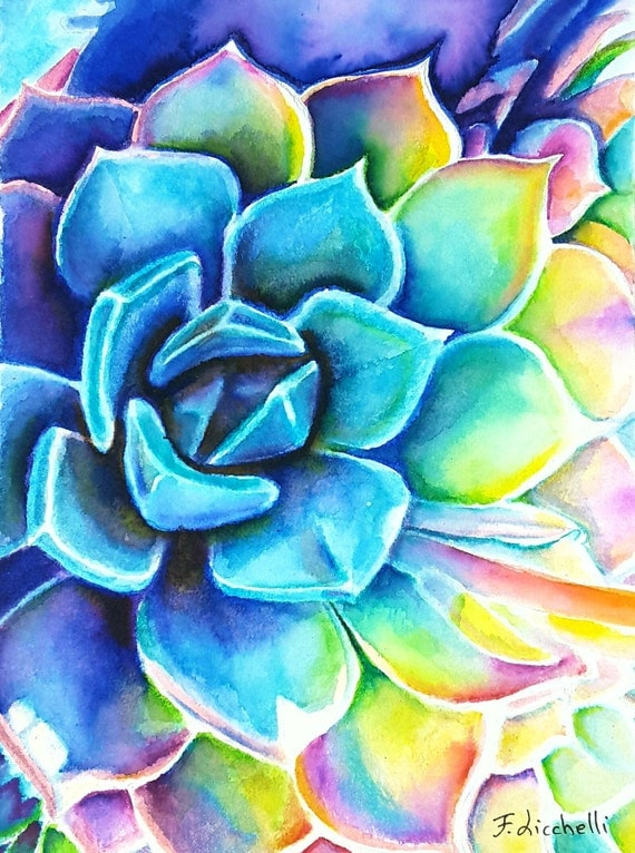 Rainbow succulent, paint by hand, original watercolor by Francesca Licchelli, gift for home inauguration, kitchen decore, restaurant wall.
