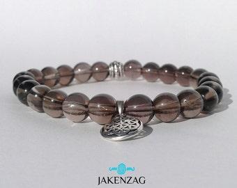 8mm Smoky Quartz Bracelet, Silver Bracelet, Gemstone Bracelet, Quartz Bracelet, Bead Bracelet Men, Mens Jewelry, Gifts for Him