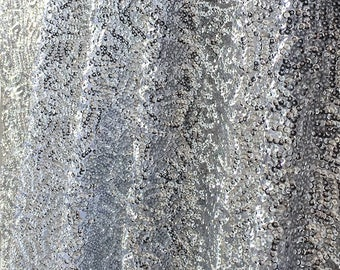 Silver Seaweed Sequins Fabric, Shiny Silver Sequins, Silver Sequin on Mesh Fabric, Silver Sequins Fabric by the Yard