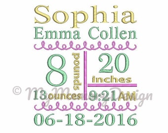 Custom Subway Art Baby Birth Announcement Personalized Embroidery Design - Machine embroidery design - 4x4 5x7 6x10 size - Baby embroidery