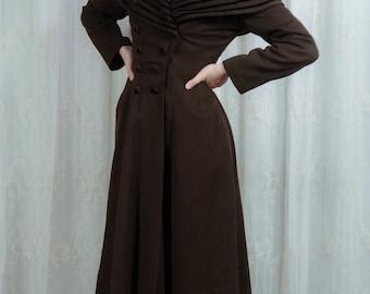 1940s Chocolate Brown Wool Princess Coat - Small