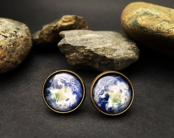 Earth Studs Planet Earth Earrings Earthy Jewelry - Planet Earth Gift Earthy Earrings - Planet Earth Studs Earth Gift Studs - Planet Studs