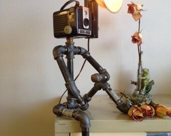 Kodak Hawkeye Brownie Camera Man Tripod Industrial Robot Black Pipe Table Lamp Steampunk