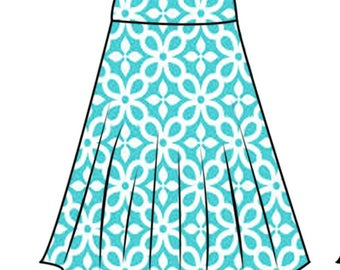 PDF skirt sewing pattern for woman44-52 for stretchy skirt and step-by-step video sewing tutorial.half circle skirt pattern for woman