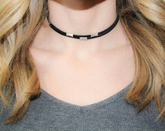 Double Choker Necklace with Silver Charms | Leather Choker | Black Choker | Brown Choker | Adjustable  Choker | The Sandy Vine