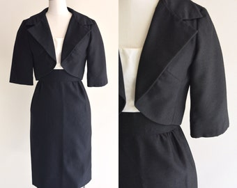 1960s Suit / Tuxedo Suit Set / Vintage 60s Dress Suit in Black and White / Small to Medium / S M