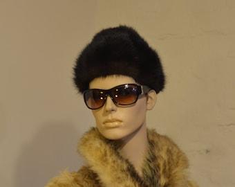 Vintage mink fur hat 1960s Dark Brown Mink Hat or Cap 22 in.