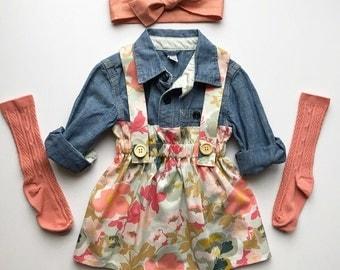 Girls Suspender Skirt, Spring Floral, Vintage Style Jumper, High Waisted, Toddler Spring Skirt, Easter Skirt, Sister Set, Straps, Custom