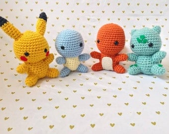 Pokemon Starter Set, Crochet Pokemon, Pokemon Amigurumi