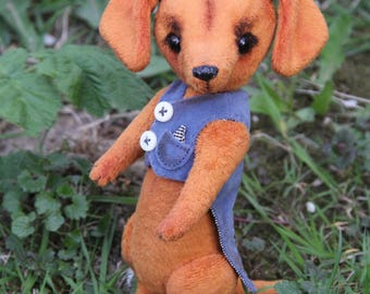 Dachshund dog Ricky in a style Teddy Bear.Height 7.5  inch (19,5 cm).