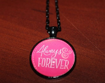 Always and Forever Pendant Black Chain Necklace