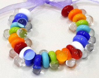 Rainbow Spacer Lampwork Beads, Chakra Colors Spacer Lampwork Beads Set (24)
