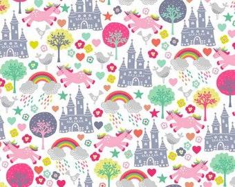 Unicorn fabric - Castle fabric - Rainbow fabric - Quilting fabric - Cotton fabric - Girls fabric - Fantasy fabric - Fairy tail fabric