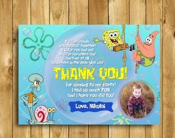 Spongebob Thank You Card, Spongebob Birthday, Spongebob Birthday Party, Spongebob Squarepants, Spongebob Card, Squidward, 4x6