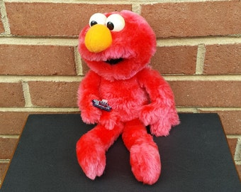 Vintage Elmo Stuffed Animal Plush Toy Plushie - Elmo Red Fur Yellow Nose - Jim Henson Muppets Sesame Street - by Applause 1980s 1990s