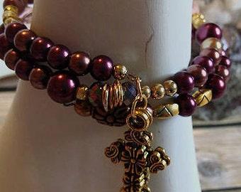 Handmade  Memory Wire Cross Bracelet, #e-903