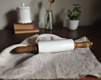 Porcelain rolling pin, Wooden rolling pin, White ceramic dough roller, Rustic kitchen, Baking tools, Farmhouse chic, Dough rolling