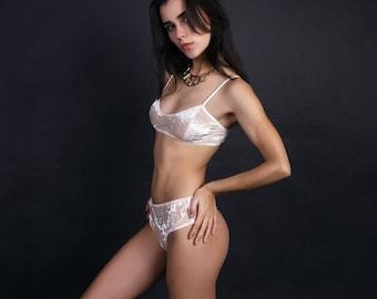 Velvet Lingerie Set  /  High-waist Thong Panty + Bralette / Beige Crushed Velour