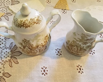Vintage J & G Meakin, Romantic  England, Green, sugar bowl with lid and creamer