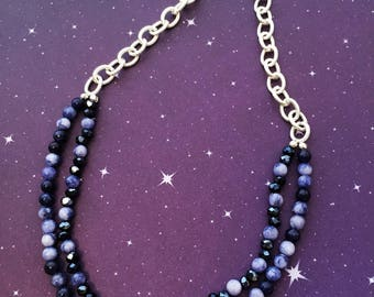Blue Soldalite Stone and Blue Glass Necklace