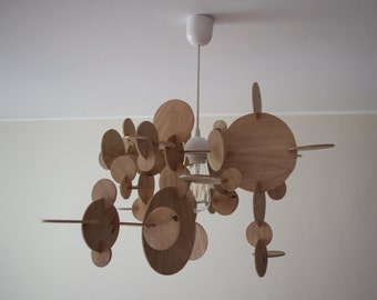 Handmade wooden circle lamp, Edison lamp, ceiling lamp, wood lamp, wooden pendant lamp, handmade lamp, natural lamp, perfect gift
