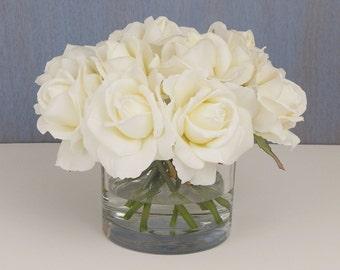 Cream OR white, rose/roses, faux water, acrylic/illusion, silk, Real Touch flowers, floral arrangement, centerpiece, home, gift, glass, vase