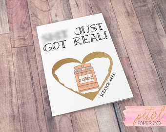 Scratch Off Sh*t just got real We're Pregnant Bun in the Oven Card - Pregnancy Announcement We're Expecting w/ Metallic Envelope