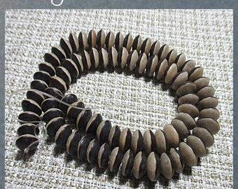 """BURI PLANT SEED beads - natural color - 10mm ufo saucers - 15"""" strand"""