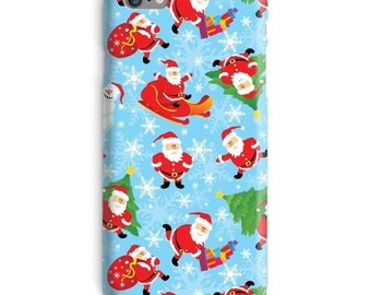 Christmas iPhone Case, Xmas iphone case, Santa iphone 6 case, Santa Claus iphone 6 case, Holiday iphone 6s case, Blue iphone case