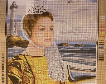 "Royal Paris canvas ""The village"" wife Brittany traditional costume headdress sea port 142 495 47cm x 37cm"