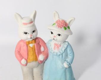 Miniature Porcelain Bunny Rabbits Figurine