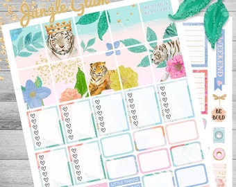 Printable Planner Stickers, Fantasy Stickers, Tiger, Weekly Kit, use with Erin Condren, Glitter, floral, glam, royalty, pastel, jungle