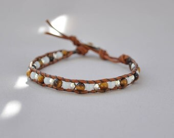 Wrap 1 • leather, Tiger eye, silver plated brass round bracelet