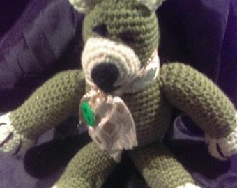 Cute Olice and Cream Colored Crocheted Stuffed Bear