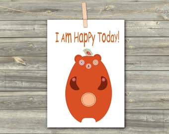 DIGITAL CARD BEAR. I am happy today download card Greeting Card for Her  Card for Him card for friend