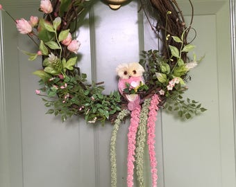 Spring Owl Wreath