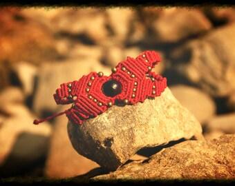 Red macrame bracelet bracelet