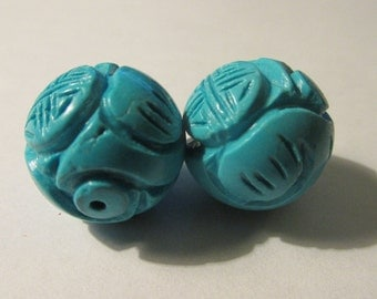 "Carved Chinese Turquoise Beads with Chinese ""Shou"" Motif, 17mm, Set of 2"