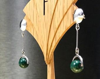 Long Silver Earrings | Her Green Earrings | Her Vintage Modernist Earrings | Green Valentine Earrings | Her Malachite Jewelry