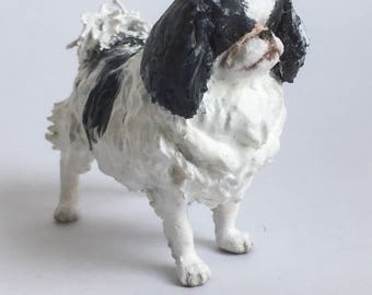 Custom Japanese Chin Sculpture | 3D Printed & Hand-painted | Pet Portrait Dog Statue Figurine Memorial | Japanese Spaniel | Chin Art