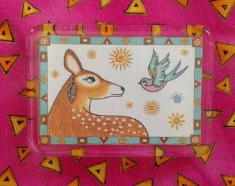 Fawn Magnet - Deer Fridge Magnet - Magnet Deer and Bird
