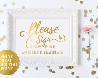 please sign OUR BIBLE and highlight your favorite verse / wedding sign / Bible Guest Book / Bible Verse Wedding / Gold Foil Wedding Sign