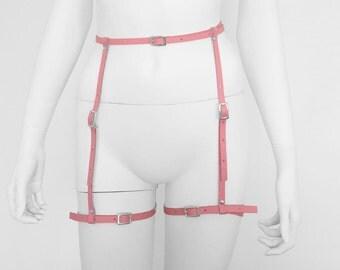 Pink Leather suspender belt,body harness for woman, harness belt, woman harness, , pink leather harness belt,
