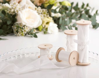 White Silk Ribbon / 3 yards of hand-dyed silk ribbon on wooden spool / Wedding Bouquet, Decoration, Invitation