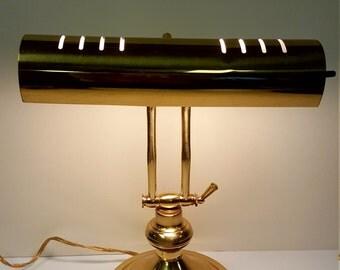 Unique + Charming Vintage Mid-Century Art Deco Antique Brass Pharmacy Desk Lamp