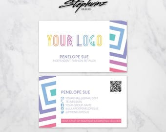 Striped Box Pattern Small Business Marketing Business Card