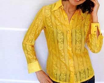 Womens fitted shirt size S yellow lace shirt see through blouse shirt yellow blouse retro shirt vintage 1970s size  6 - 8
