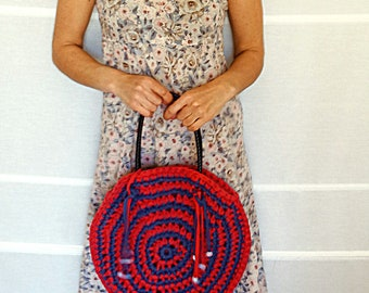 Womens round handbag crochet bag crochet purse with leather handles round shoulder bag circle bag weekend bag red blue vintage